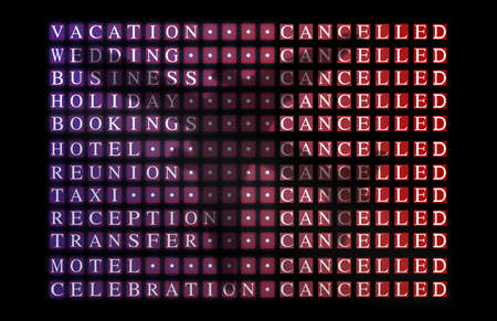 Flight board cancellation info with words associated with travel plans. Wording transparent through silhouette of passenger plane. Stock Photo