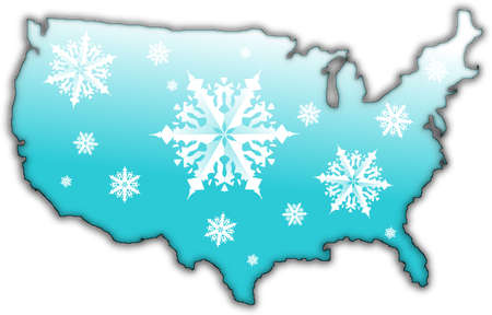 Map of the USA with a blue surface and covered in snow flakes
