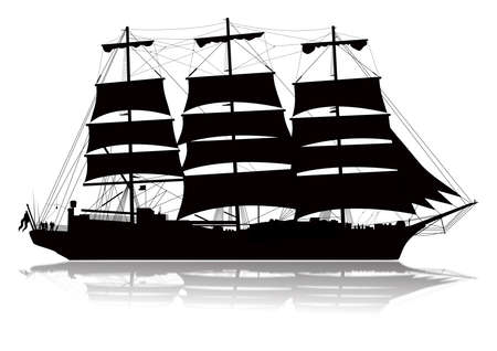 Detailed sailing ship with lower reflection