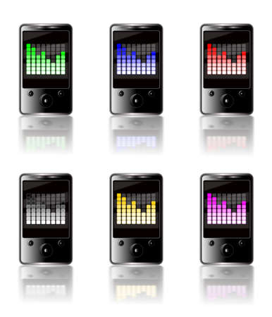 Illustration of six generic touch screen MP3 players isolated on a white background with a luminous graphic equalizer display on each screen in various colors with reflections below.