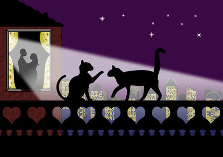 Silhouette of cats on a wall of hearts with romantic couple at window Stock Photo