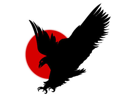Silhouette of eagle over red sun symbol