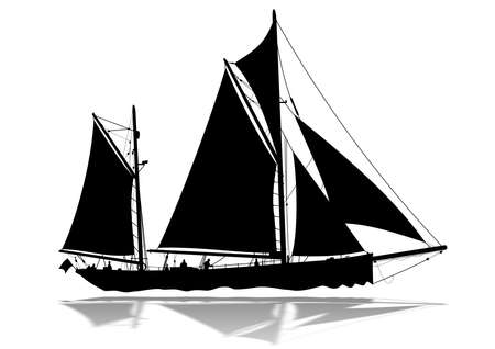 Detailed sailing boat silhouette with lower reflection Stock Photo
