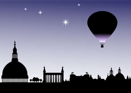 Classical sky line silhouette with balloon and stars Stock Photo