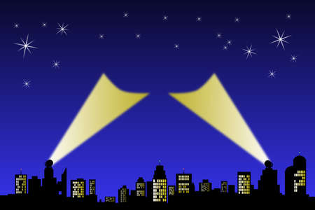 Search light point up to a night sky from a silhouette horizon. Central area ready for text or logo.