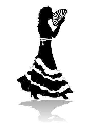Partial silhouette of girl in dress walking with fan Stock Photo