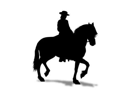 Horse rider with hat in a prancing stance and shadow