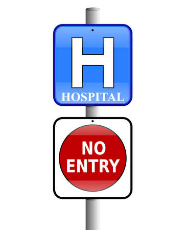 Hospital sign above a no entry sign with a white background Stock Photo
