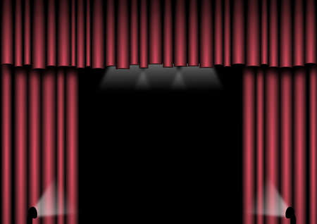 Red velvet curtains with spotlights to the side and above