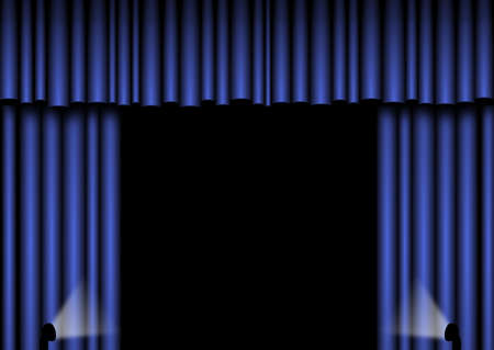 Blue open curtains with spotlights