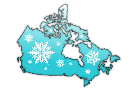 Map of Canada covered in white snow flake designs