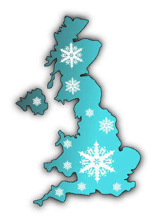 Map of the United Kingdom covered in white snow flake designs