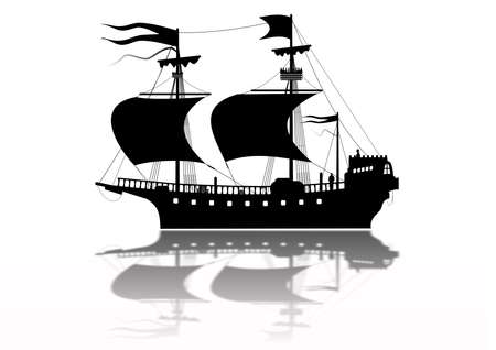 Tudor Warship Silhouette Stock Photo - 6379516