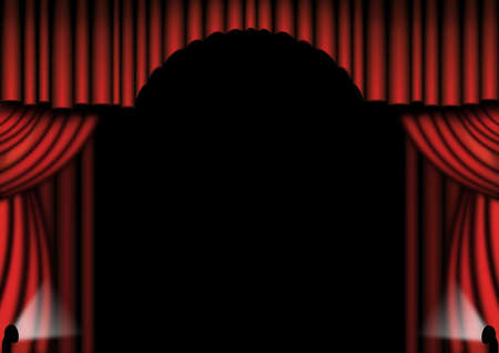 either: Red theater drapes with spotlights either side