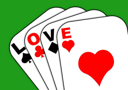 Playing cards with the words love across them Stock Photo