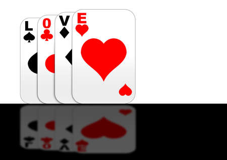 Playing cards with Love Stock Photo