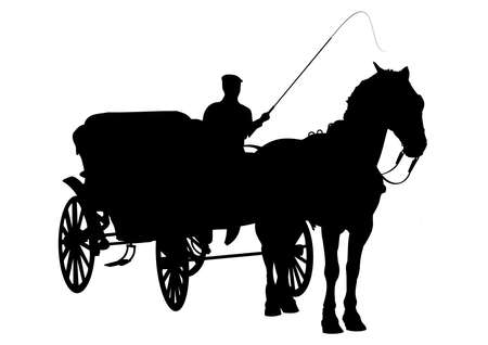 Horse and carriage silhouette with figure holding whip photo