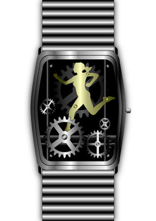 Silver watch movement with gold woman running through the cogs Stock Photo