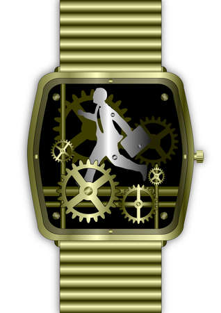 Gold watch movement with businessman in tie running on time Stock Photo