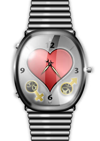 Illustration of a watch with central heart above symbols for male and female.