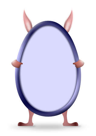 Easter egg shape in blue with rabbit behind showing hands, feet and big ears