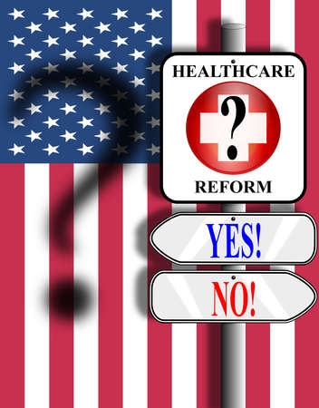 Medical symbol nailed to a pole above two arrow signs. Background image is the American stars and stripes flag with shadow of a question mark.