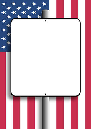 Copy space sign with shadow nailed to pole over flag of USA  Stock Photo