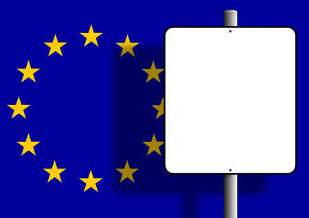Flag of the european union under a blank sign nailed to a post Stock Photo