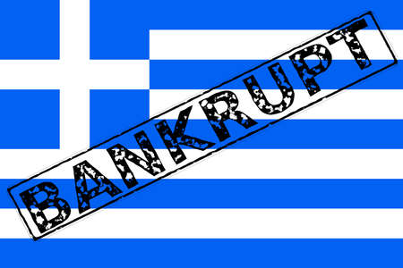 The flag of Greece with a rubber stamping effect of Bankrupt over it photo