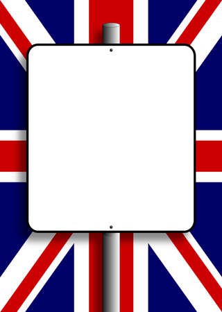 Sign post with copy space over the United Kingdom Flag