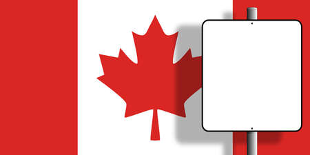 Flag of Canada under a blank sign nailed to a post Stock Photo - 6675685