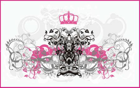 sfondo con riccioli, fiori, corone e gli elementi per la progettazione