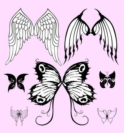 wszelkiego rodzaju skrzydeł, wektor