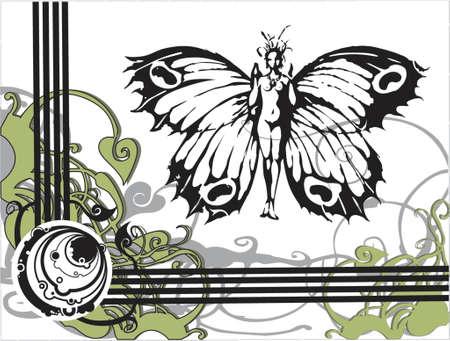 femme papillon: Vector papillon femme