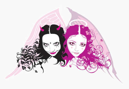 womanly: devil and angel, vector Illustration