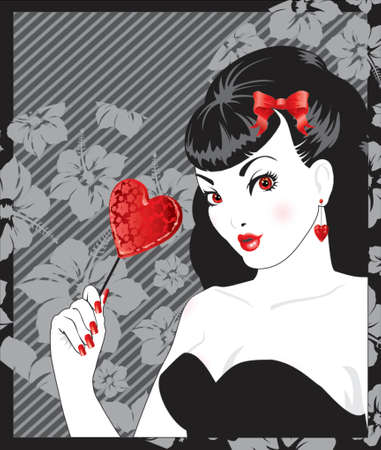 womanly: pin-up sexy girl with red heart-shaped lollipop Illustration