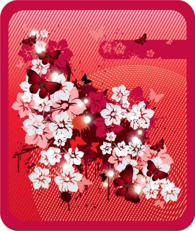 red grunge floral background