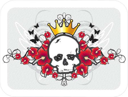 skull and flowers: calavera con corona de flores y mariposas