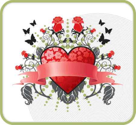 valentines postcard with red heart and roses
