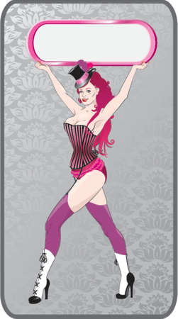 womanly: cabaret girl with frame in a hands Illustration