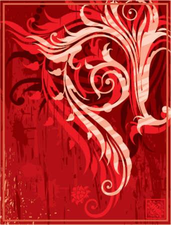 grunge sfondo rosso con elementi floreali per la progettazione