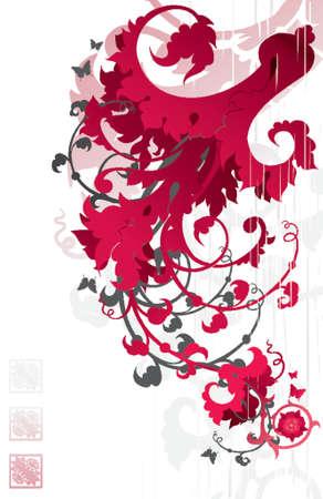 red floral ornament Illustration