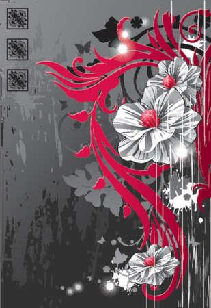 realistic flowers against dark grunge background Illustration