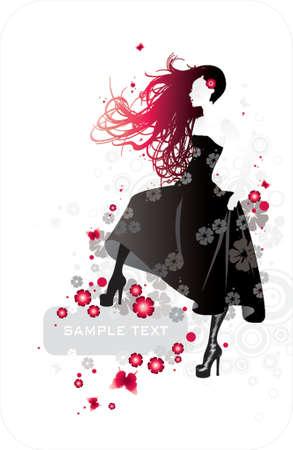 donna in un abito nero con telaio per il testo