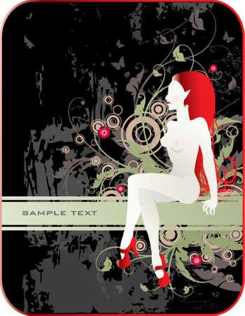 nudo donna in un scarpe rosse con banner per il testo