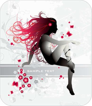 donna con capelli rossi e banner per il testo