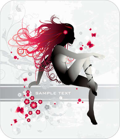 woman with red hair and banner for text Vector