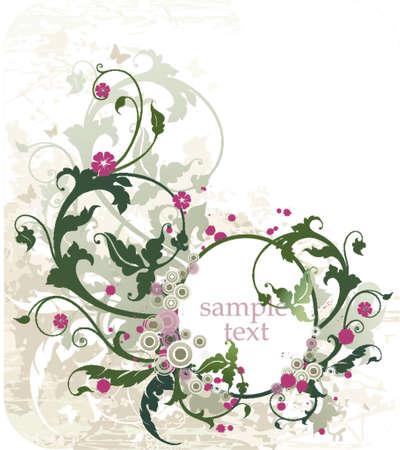 cornice ovale per il testo o la foto con ornamenti floreali  Vettoriali