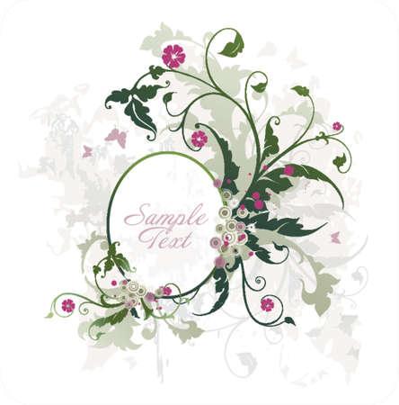 owalnej ramce wektora tekstu lub zdjęcia z kwiatami