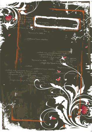 Wektor grunge pusty z ozdoba kwiatu